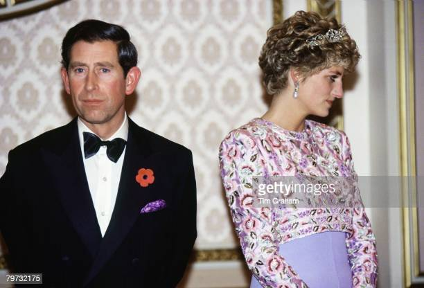 Prince Charles Prince of Wales and Diana Princess of Wales at a Presidential banquet at the Blue House in Seoul during their last official trip...