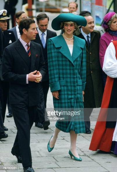 Prince Charles Prince of Wales and Diana Princess of Wales during a trip to Venice Italy Diana is wearing an outfit designed by fashion designers the...
