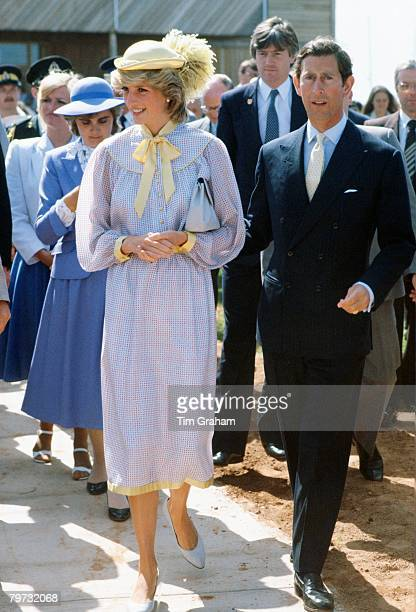 Prince Charles Prince of Wales and Diana Princess of Wales during a walkabout in Canada