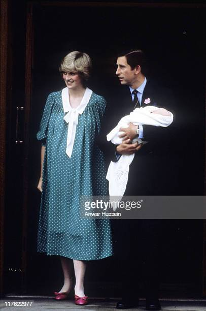 Prince Charles Prince of Wales and Diana Princess of Wales leave St Mary's Hospital with newborn baby Prince William on June 22 1982 in London...