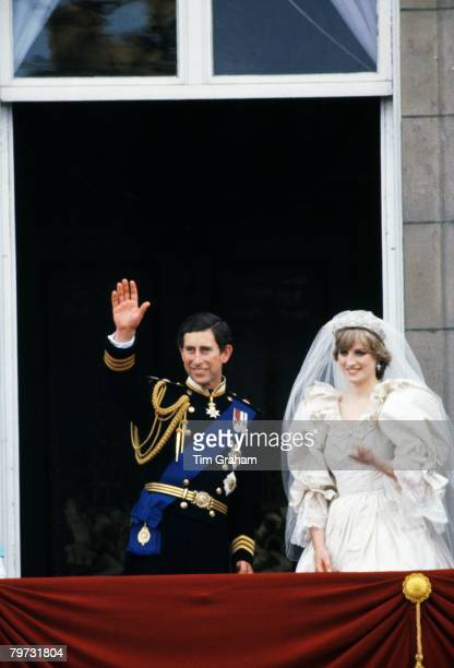 Prince Charles Prince of Wales and Diana Princess of Wales on the balcony of Buckingham Palace on their wedding day