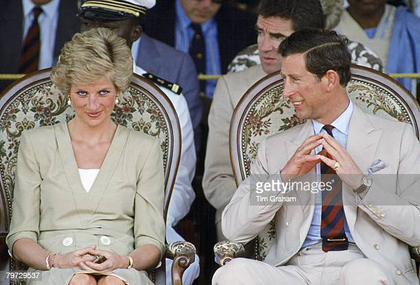 Prince Charles Prince of Wales and Diana Princess of Wales sit together during an official visit to Bamenda Cameroon