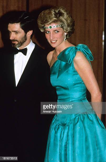 Princess Diana Princess of Wales attends a ball during a tour of Australia on October 31 1985 in Melbourne Australia