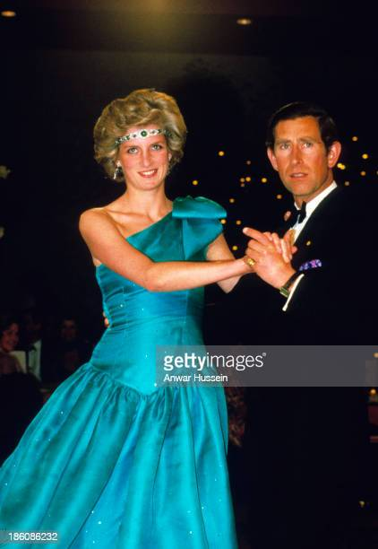 Prince Charles Prince of Wales and Princess Diana Princess of Wales dance together at a ball during their tour of Australia on October 31 1985 in...