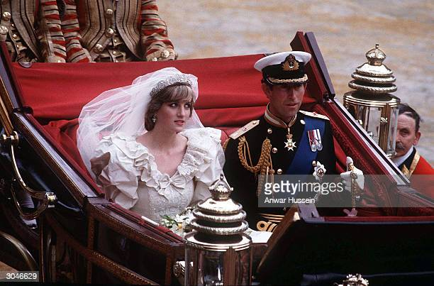 Diana Princess of Wales and Prince Charles ride in a carriage after their wedding at St Paul's Cathedral July 29 1981 in London Diana told of a...