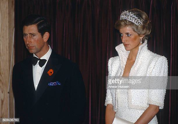 Prince Charles Prince of Wales and Diana Princess of Wales wearing the Cambridge Lover's Knot tiara and a white outfit by Catherine Walker known as...