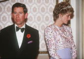 Prince Charles Prince of Wales and Princess Diana Princess of Wales are at loggerheads during their tour of South Korea in 1992 Diana is wearing a...