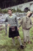 Princess Diana Princess of Wales wearing tweed and Prince Charles Prince of Wales wearing a kilt and sweater pose for the press during their...