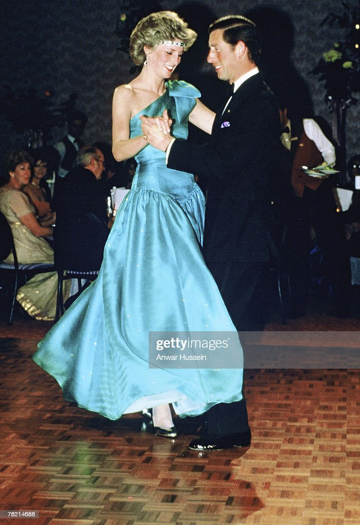A 1985 photo of Princess Diana, Princess of Wales and Prince Charles, Prince of Wales dancing in Melbourne, Australia.