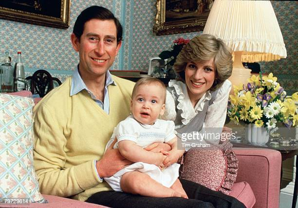 Prince Charles Prince of Wales and Diana Princess of Wales with their baby son Prince William at home in Kensington Palace