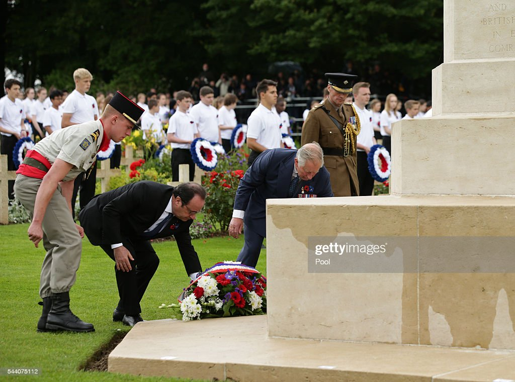 Prince Charles, Prince of Wales (2nd R) and French President Francois Hollande (2nd L) lay wreaths at the Cross of Sacrifice during the Commemoration of the Centenary of the Battle of the Somme at the Commonwealth War Graves Commission Thiepval Memoria on July 1, 2016 in Thiepval, France. The event is part of the Commemoration of the Centenary of the Battle of the Somme at the Commonwealth War Graves Commission Thiepval Memorial in Thiepval, France, where 70,000 British and Commonwealth soldiers with no known grave are commemorated.
