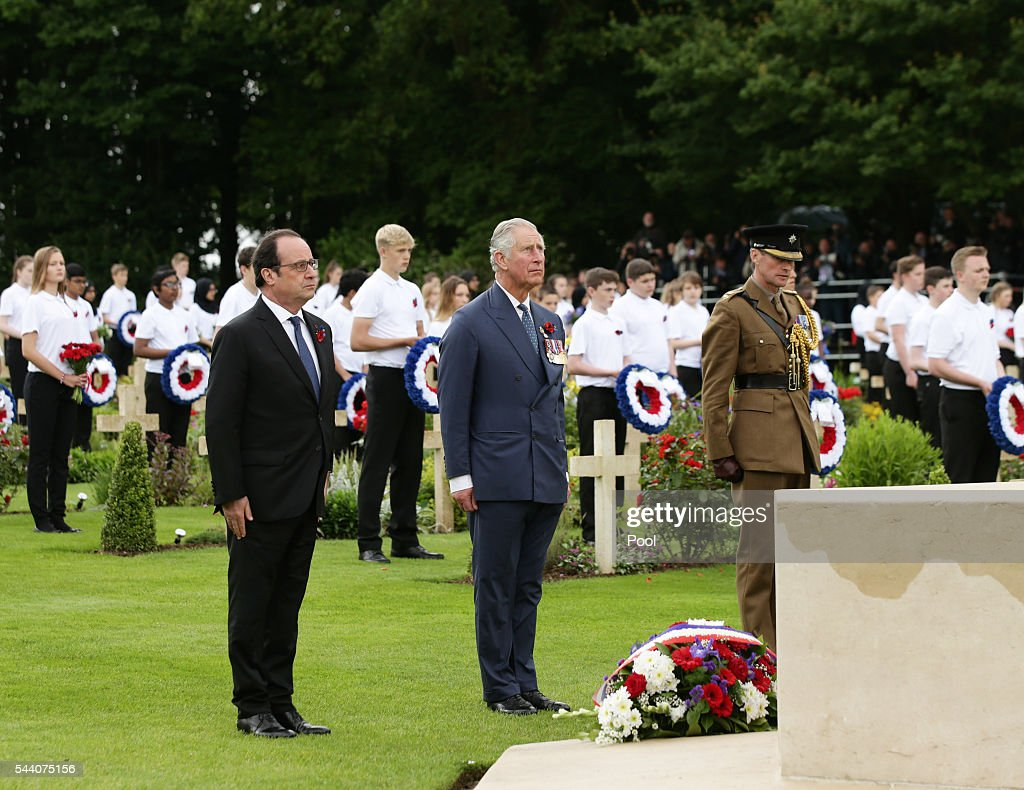 Prince Charles, Prince of Wales (2nd R) and French President Francois Hollande (2nd L) pay their respects after laying wreaths at the Cross of Sacrifice during the Commemoration of the Centenary of the Battle of the Somme at the Commonwealth War Graves Commission Thiepval Memoria on July 1, 2016 in Thiepval, France. The event is part of the Commemoration of the Centenary of the Battle of the Somme at the Commonwealth War Graves Commission Thiepval Memorial in Thiepval, France, where 70,000 British and Commonwealth soldiers with no known grave are commemorated.