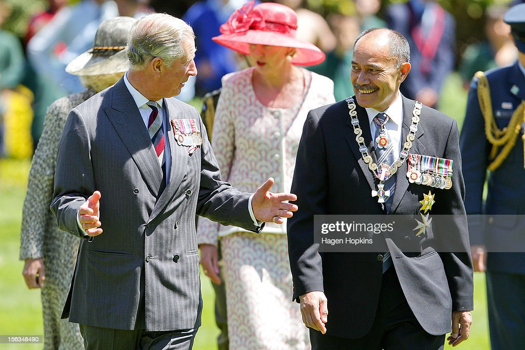Prince Charles, Prince of Wales and Governor General Sir Jerry Mateparae talk at Government House on November 14, 2012 in Wellington, New Zealand. The Royal couple are in New Zealand on the last leg of a Diamond Jubilee that takes in Papua New Guinea, Australia and New Zealand.