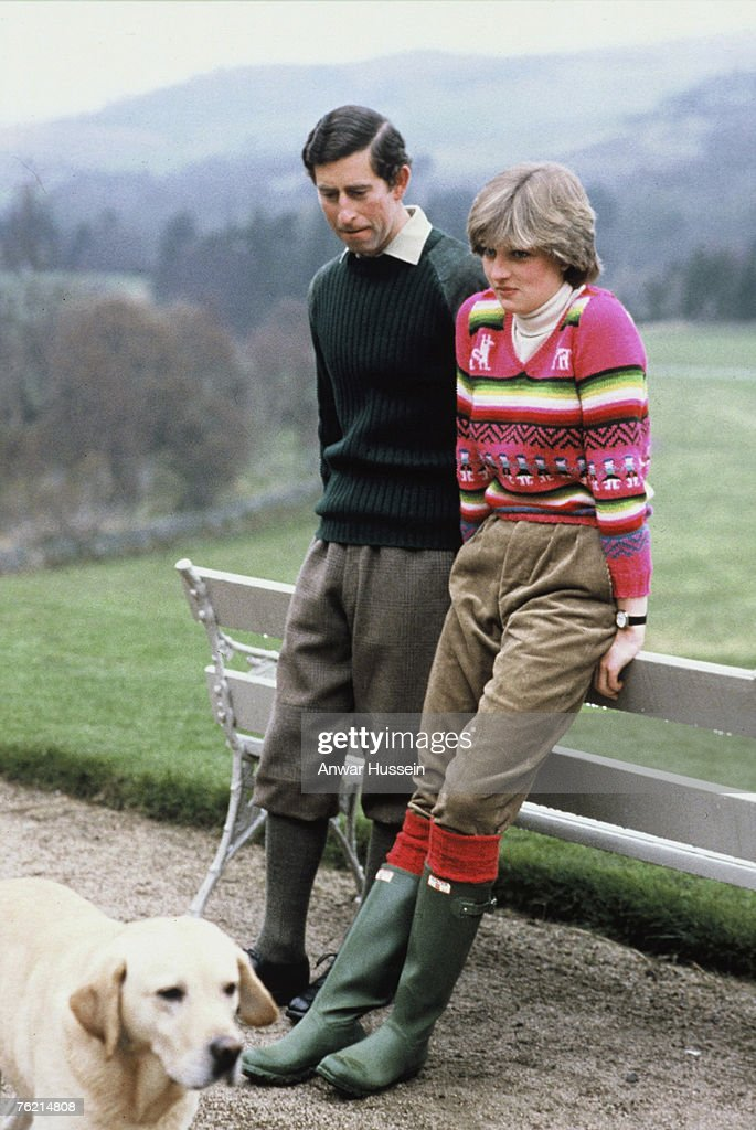 Lady Diana Spencer wearing an Inca jersey, spends time with her fiance Prince Charles, Prince of Wales, at Balmoral, Scotland before their July 29, 1981 wedding.