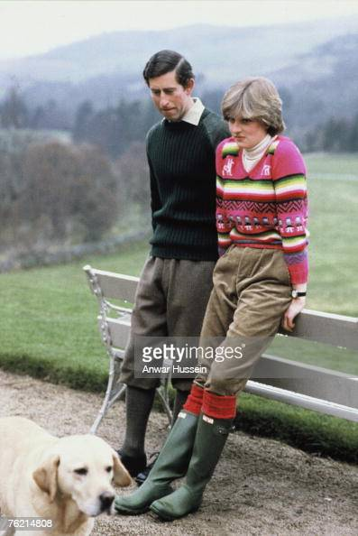 Lady Diana Spencer wearing an Inca jersey spends time with her fiance Prince Charles Prince of Wales at Balmoral Scotland before their July 29 1981...