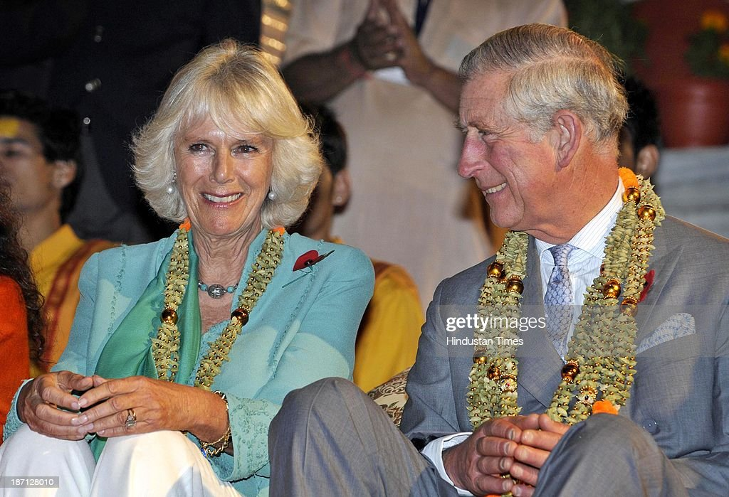 Prince Charles, Prince of Wales and his wife Camilla, Duchess of Cornwall taking part in Ganga Arti ceremony held at Parmartha Niketan Ashram on the bank of Ganga for the peace of those who died in the heavy rains and flashfloods in June on November 6, 2013 in Rishikesh, India. The royal couple begin their extensive nine-day tour of India from Uttarakhand which was hit by a natural calamity in mid-June.