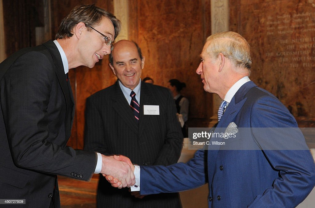 Prince Charles, Prince of Wales and Jeroen Roodenburg (Ambassador for the private sector, Netherlands) attend the reception launch of CDP's Global Forests Report 2013 at The Royal Society on November 20, 2013 in London, England.