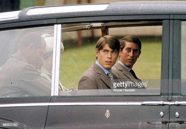Prince Charles Prince of Wales and Prince Andrew the Duke of York attend the Braemar Highland Games on September 15 1975 in Scotland United Kingdom
