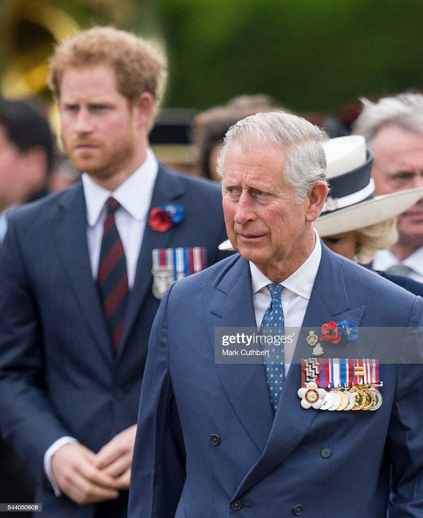 <a gi-track='captionPersonalityLinkClicked' href=/galleries/search?phrase=Prince+Charles+-+Prince+of+Wales&family=editorial&specificpeople=160180 ng-click='$event.stopPropagation()'>Prince Charles</a>, Prince of Wales and <a gi-track='captionPersonalityLinkClicked' href=/galleries/search?phrase=Prince+Harry&family=editorial&specificpeople=178173 ng-click='$event.stopPropagation()'>Prince Harry</a> attend a Commemoration of the Centenary of the Battle of the Somme at The Commonwealth War Graves Commission Thiepval Memorial on July 01, 2016 in Thiepval, France.