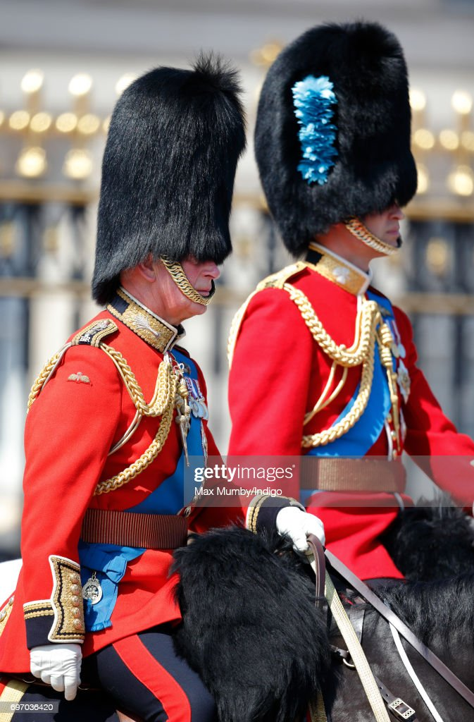 Prince Charles, Prince of Wales and Prince William, Duke of Cambridge leave Buckingham Palace on horseback during the annual Trooping the Colour Parade on June 17, 2017 in London, England. Trooping the Colour is a military parade to mark Queen Elizabeth II's official birthday and dates back to the time of Charles II in the 17th Century when the Colours of a Regiment were used as a rallying point in battle.
