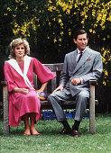 Prince Charles Prince of Wales and Princess Diana Princess of Wales at Kensington Palace gardens in June 1984