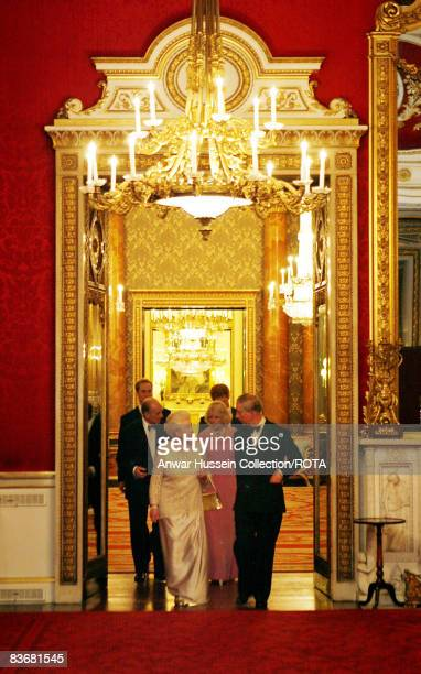 Prince Charles Prince of Wales and Queen Elizabeth ll followed by Prince Philip Duke of Edinburgh Camilla Duchess of Cornwall Prince William and...