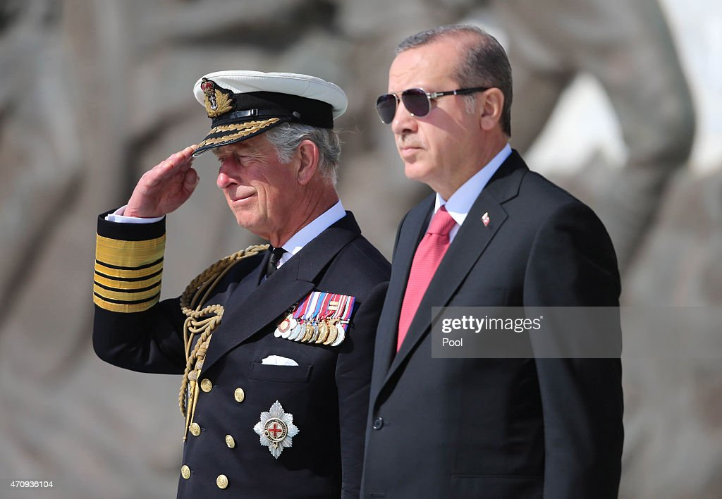Prince Charles, Prince of Wales and Turkish President <a gi-track='captionPersonalityLinkClicked' href=/galleries/search?phrase=Recep+Tayyip+Erdogan&family=editorial&specificpeople=213890 ng-click='$event.stopPropagation()'>Recep Tayyip Erdogan</a> attend an international service of remembrance at the Abide memorial on April 24, 2015 in Seddulbahir, Turkey. Turkish and Allied powers representatives, as well as family members of those who served, are commemorating the 100th anniversary of the Gallipoli campaign with ceremonies at memorials across the Gallipoli Peninsula. The Gallipoli land campaign, in which a combined Allied force of British, French, Australian, New Zealand and Indian troops sought to occupy the Gallipoli Peninsula and the strategic Dardanelles Strait during World War I, began on April 25, 1915 against Turkish forces of the Ottoman Empire. The Allies, unable to advance more than a few kilometers, withdrew after eight months. The campaign cost the Allies approximately 50,000 killed and up to 200,000 wounded, the Ottomans approximately 85,000 killed and 160,000 wounded.