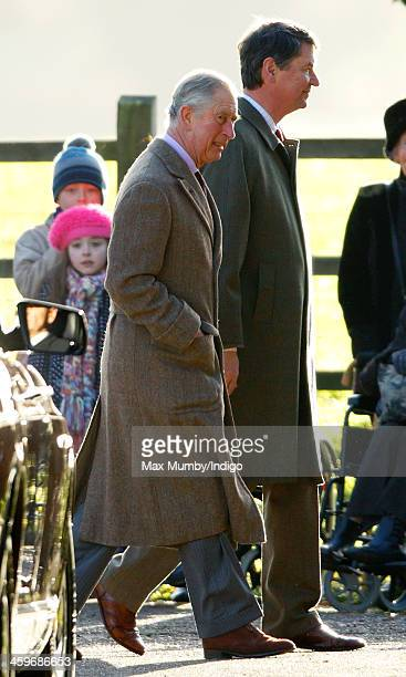 Prince Charles Prince of Wales and Vice Admiral Sir Timothy Laurence arrive at St Mary Magdalene Church Sandringham to attend Sunday service on...