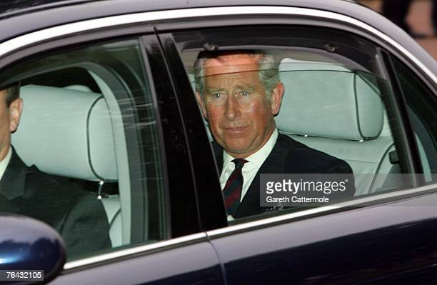 Prince Charles Prince of Wales arrives at the 10th anniversary memorial service for Diana Princess Of Wales held at the Guards Chapel on August 31...