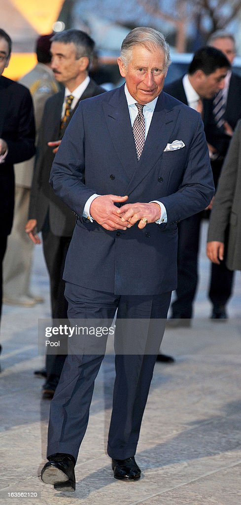 Prince Charles, Prince of Wales arrives at the Royal Automobile Museum on the second day of Charles and Camilla's visit to the country on March 12, 2013, in Amman, Jordan. The Royal couple are on the first leg of a tour of the Middle East taking in Qatar, Saudia Arabia and Oman.
