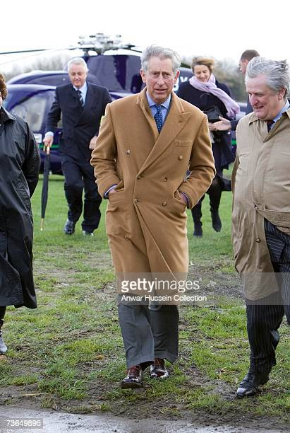 Prince Charles Prince of Wales arrives by helicopter at Bank Farm to see how local produce is selling on March 20 2007 in Maidstone England