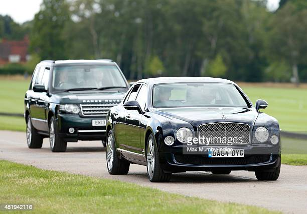 Prince Charles Prince of Wales arrives in his chauffeur driven Bentley at the Royal Salute Coronation Cup polo match at Guards Polo Club on July 25...