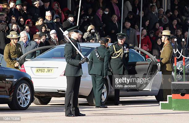 Prince Charles Prince of Wales arrives to present Afghanistan Service Medals to Gurkas at Sir John Moore Barracks on January 28 2011 in Folkestone...