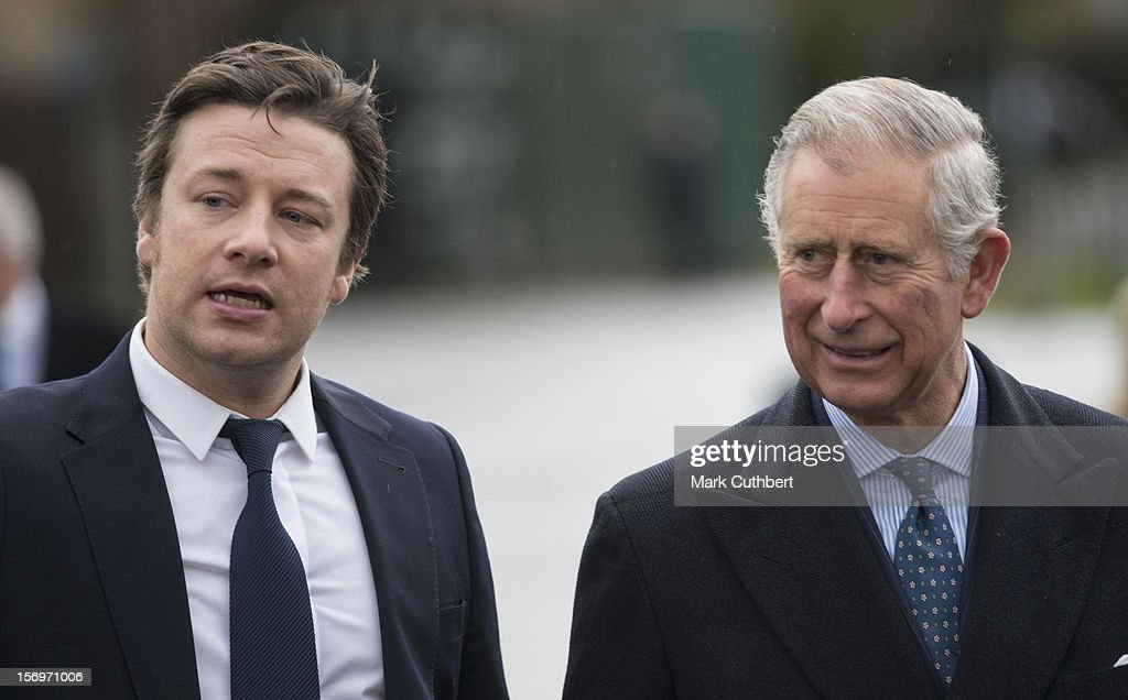 <a gi-track='captionPersonalityLinkClicked' href=/galleries/search?phrase=Prince+Charles+-+Prince+of+Wales&family=editorial&specificpeople=160180 ng-click='$event.stopPropagation()'>Prince Charles</a>, Prince of Wales arrives with <a gi-track='captionPersonalityLinkClicked' href=/galleries/search?phrase=Jamie+Oliver&family=editorial&specificpeople=159384 ng-click='$event.stopPropagation()'>Jamie Oliver</a> at Carshalton Boys Sports college to see how the school has transformed its approach to healthy eating on November 26, 2012 in Carshalton, England.