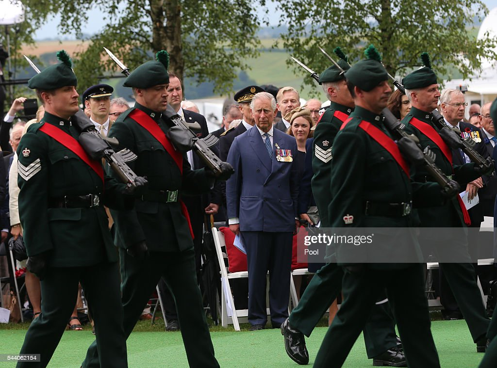Prince Charles, Prince of Wales at the Ulster Memorial Tower during a service to mark the 100th anniversary of the start of the battle of the Somme on July 1, 2016 in Thiepval, France. The event is part of the Commemoration of the Centenary of the Battle of the Somme at the Commonwealth War Graves Commission Thiepval Memorial in Thiepval, France, where 70,000 British and Commonwealth soldiers with no known grave are commemorated.