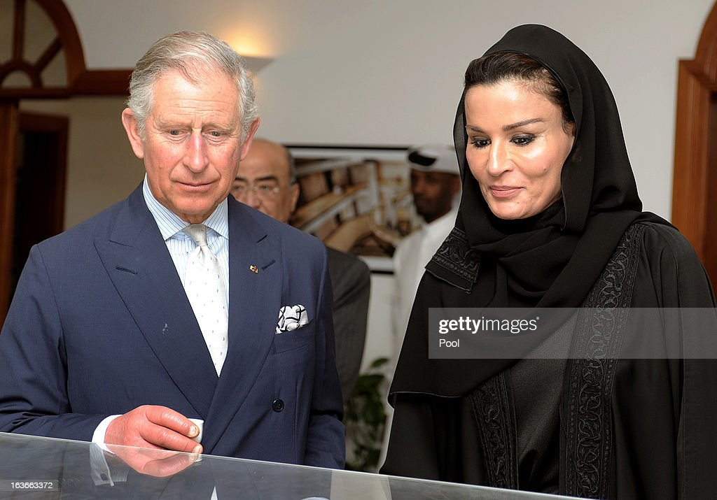 <a gi-track='captionPersonalityLinkClicked' href=/galleries/search?phrase=Prince+Charles&family=editorial&specificpeople=160180 ng-click='$event.stopPropagation()'>Prince Charles</a>, Prince of Wales attends a a meeting at the foundations HQ with Sheikha Mozah, leader of the Qatar Foundation on fourth day of a tour of the Middle East on March 14, 2013 in Doha, Qatar. The Royal couple are on the second leg of a tour of the Middle East taking in Qatar, Saudia Arabia and Oman.