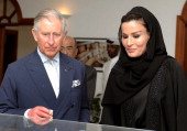 Prince Charles Prince of Wales attends a a meeting at the foundations HQ with Sheikha Mozah leader of the Qatar Foundation on fourth day of a tour of...
