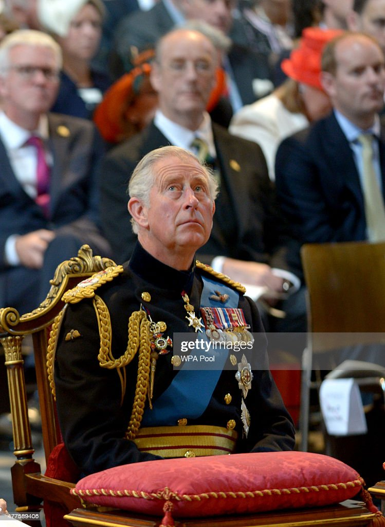 Prince Charles, Prince of Wales attends a commemoration service to mark the 200th Anniversary of the Battle of Waterloo, at St Paul's Cathedral on June 18, 2015 in London, England.