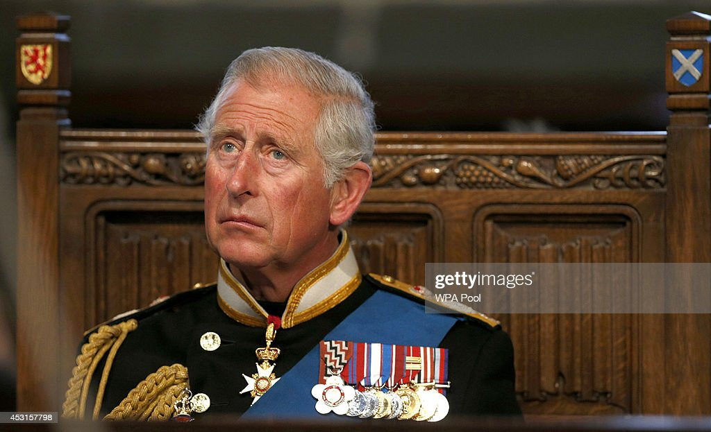 Prince Charles Prince Of Wales attends a memorial service at Glasgow Cathedral to mark the centenary of the outbreak of World War One on August 4...