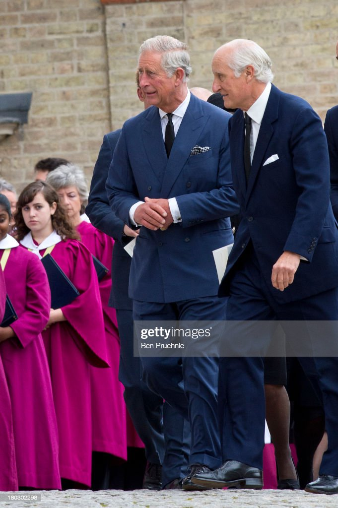 Prince Charles, Prince of Wales (C) attends a requiem mass for Hugh van Cutsem who passed away on September 2nd 2013 at Brentwood Cathedral on September 11, 2013 in Brentwood, England.