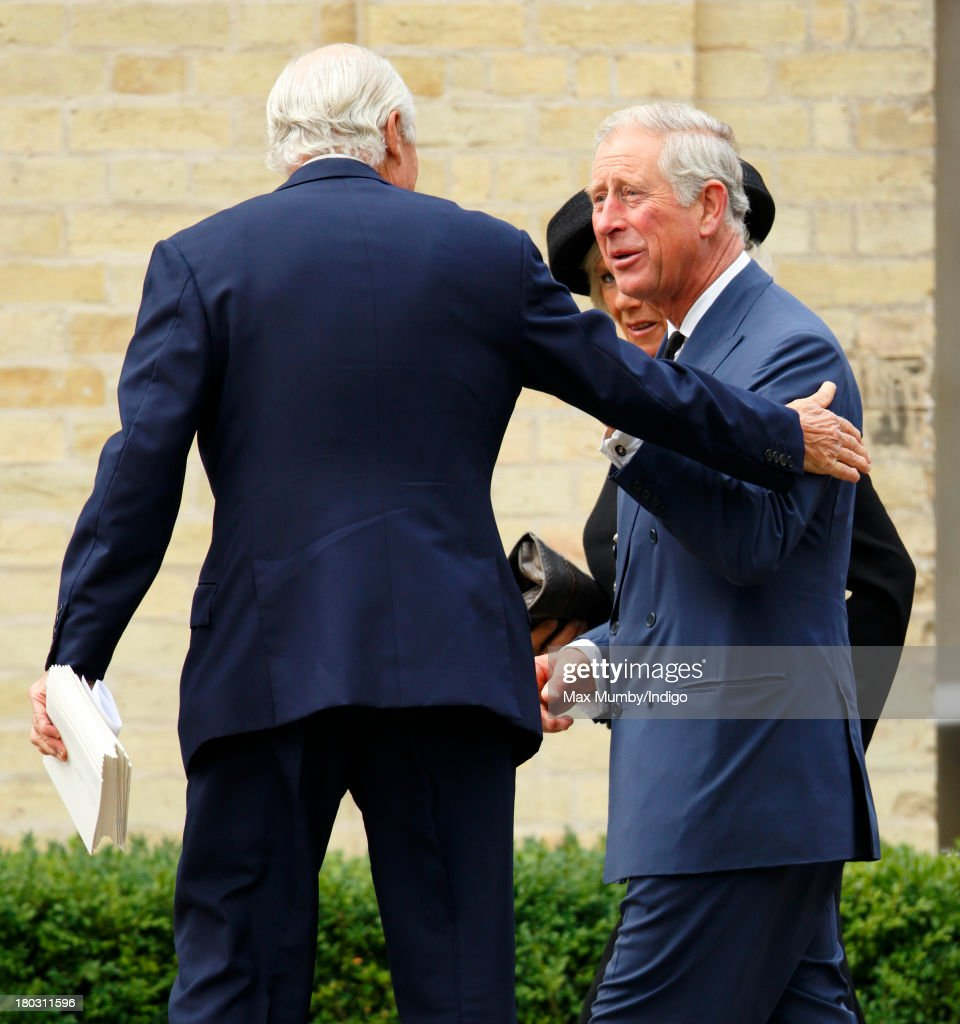 Prince Charles, Prince of Wales attends a requiem mass for Hugh van Cutsem who passed away on September 2nd 2013, at Brentwood Cathedral on September 11, 2013 in Brentwood, England.