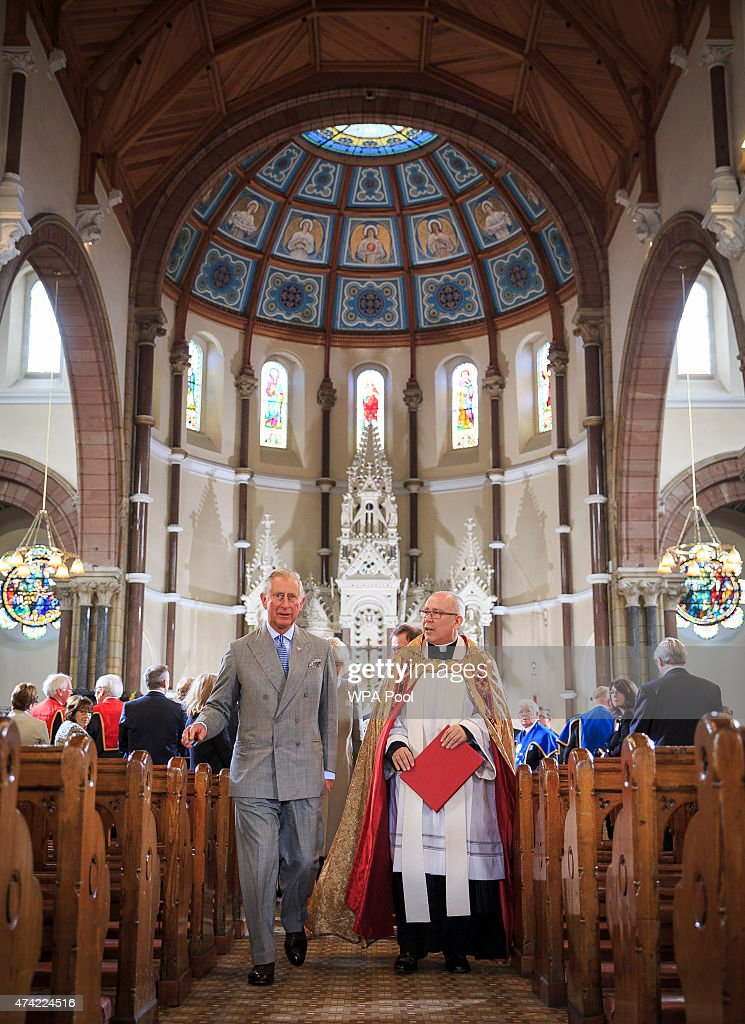 Prince Charles, Prince of Wales attends a service during a visit to St Patricks Church on May 21. 2015 in Belfast, Northern Ireland. Prince of Wales and the Duchess of Cornwall will attend a series of engagements in Northern Ireland following their visit in the Republic of Ireland.