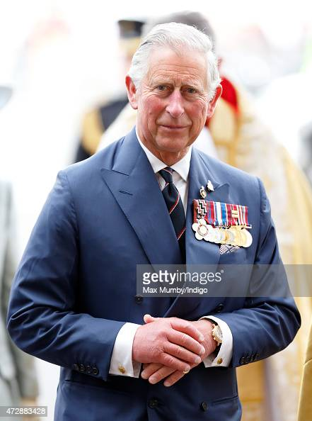 Prince Charles Prince of Wales attends a Service of Thanksgiving to mark the 70th Anniversary of VE Day at Westminster Abbey on May 10 2015 in London...