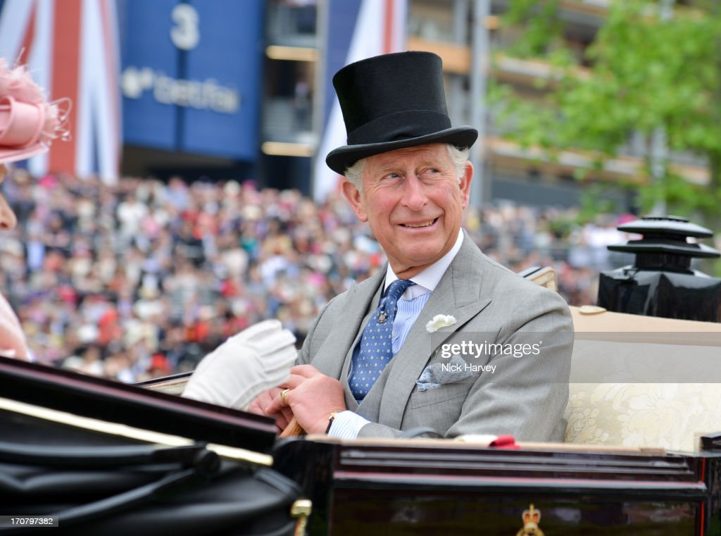 <a gi-track='captionPersonalityLinkClicked' href=/galleries/search?phrase=Prince+Charles+-+Prince+of+Wales&family=editorial&specificpeople=160180 ng-click='$event.stopPropagation()'>Prince Charles</a>, Prince of Wales attends Day 1 of Royal Ascot at Ascot Racecourse on June 18, 2013 in Ascot, England.
