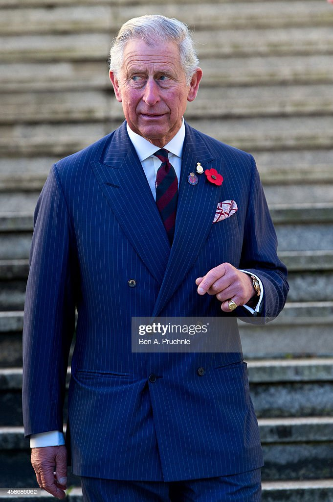 Prince Charles Prince of Wales attends the Welsh Guards regimental remembrance Sunday lunch on November 9 2014 in London England