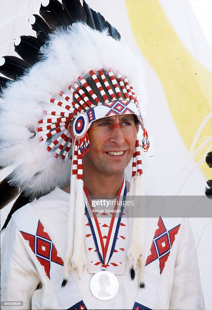 <a gi-track='captionPersonalityLinkClicked' href=/galleries/search?phrase=Prince+Charles&family=editorial&specificpeople=160180 ng-click='$event.stopPropagation()'>Prince Charles</a>, Prince of Wales becomes Red Indian Chief Red Crow during his visit on July 1, 1977 to Canada.