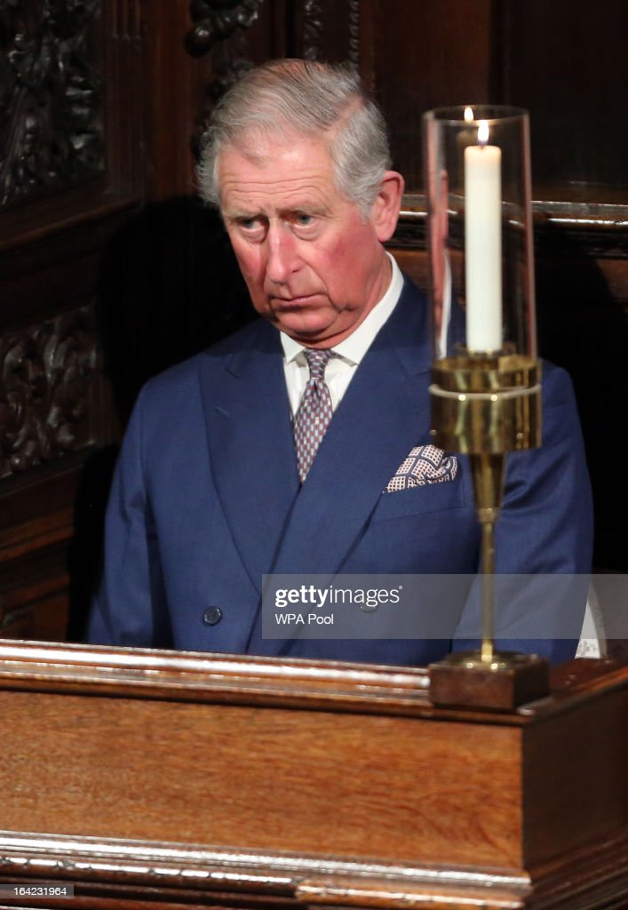<a gi-track='captionPersonalityLinkClicked' href=/galleries/search?phrase=Prince+Charles&family=editorial&specificpeople=160180 ng-click='$event.stopPropagation()'>Prince Charles</a>, Prince of Wales bows his head during the service as The Most Rev Justin Welby is enthroned as Archbishop of Canterbury at Canterbury Cathedral on March 21, 2013 in Canterbury, England. The newly appointed Archbishop of Canterbury Justin Welby is enthroned today, installing him as the 105th Archbishop of Canterbury and head of the Church of England, in front of bishops and religious of the Anglican communion from around the world, the Prime Minister David Cameron, The Prince of Wales and other dignitaries.