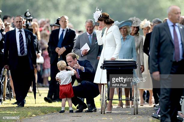 Prince Charles Prince of Wales Camilla Duchess of Cornwall and Carole Middleto walk behind Catherine Duchess of Cambridge Prince William Duke of...