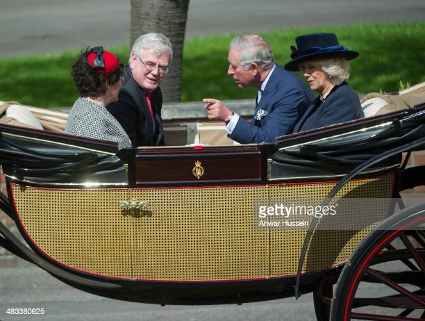 Prince Charles Prince of Wales Camilla Duchess of Cornwall and Irish Foreign Minister Eamon Gilmore leave the ceremonial welcome for the Irish...