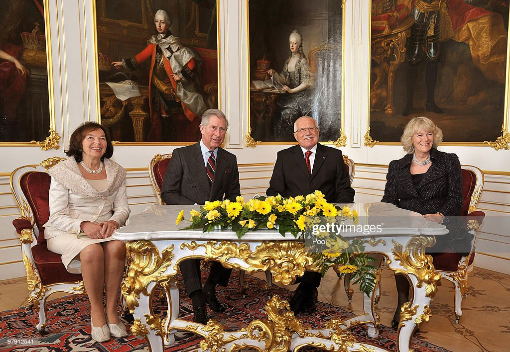 Prince Charles, Prince of Wales, Camilla, Duchess of Cornwall and President of the Czech Republic Vaclav Klaus and his wife <a gi-track='captionPersonalityLinkClicked' href=/galleries/search?phrase=Livia+Klausova&family=editorial&specificpeople=616325 ng-click='$event.stopPropagation()'>Livia Klausova</a> pose for a photograph at Prague Castle on March 20, 2010 in Prague, Czech Republic. Prince Charles, Prince of Wales and Camilla, Duchess of Cornwall are on a three day trip to the Czech Republic as part of a tour of Eastern Europe that takes in Poland, Hungary and the Czech Republic.